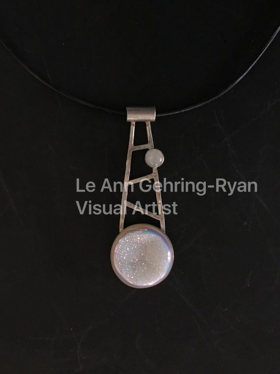 Druzy and Moonstone set in Sterling Silver