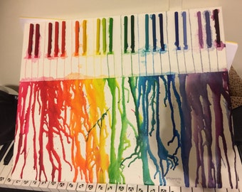 "16""x20"" Melted Crayon Piano, Rainbow"