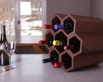tabletop wine rack hexagon wine rack honeycomb wine rack wood wine holder