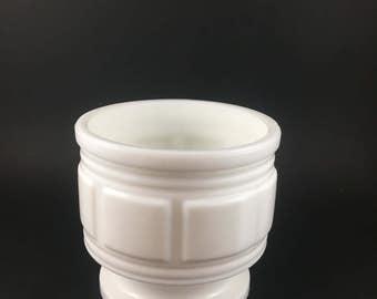 Vintage Milk Glass Geometrical Pattern Vase