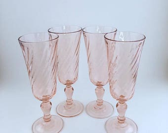 Rosaline Pink Swirl Champagne Flutes By ARCOROC France/Set Of 4