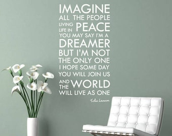 JOHN LENNON   IMAGINE Removable Wall Art Decal, Love, Beatles, Peace,  Bedroom