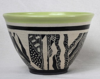 Decorative bowl, ceramic bowl, gift, hand carved, sgraffito,