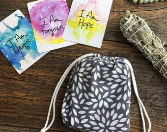 Small Gray Floral or Oracle Card Deck Cotton Drawstring Bag - Holds the  I Am Power Deck, Spirit de la Lune, and more!