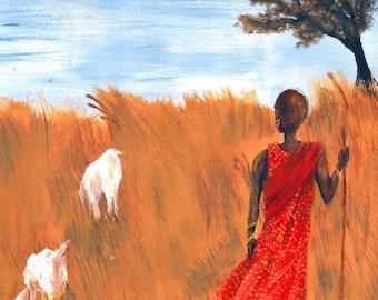 PRINT || African Art, Maasai Goatherder, Maasai tribesman African painting, goat painting, Kenya, Kenyan art, African print, African decor