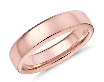Rose Gold Women/men Wedding Band, 5mm Wide Polished Flat 14k Recycled Rose Gold Ring Unisex Wedding Ring Gold Ring - Made in Your Size