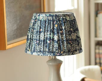 Liberty of London print, pleated hard back lamp shade in NAVY