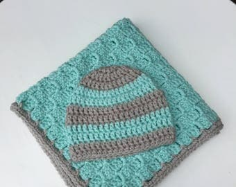 Crochet Lovey Blanket and Hat Set, Baby Security Blanket, Baby Hat and Security Blanket, Crochet Striped Baby Beanie Hat, Crochet Baby Lovey
