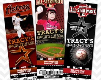Houston Astros Invitation, Astros Baseball Invitation, Astros VIP Pass, Ticket Invitation, Houston Texas Save the Date, Texas Baby Shower