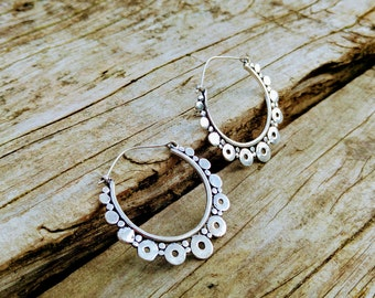 Earrings of Hoop style ethnic, silver German. Tribal hoop earrings. Tribal jewelry. Ethnic style.  Earring silver color.