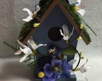 Decorated Blue Birdhouse (#003)