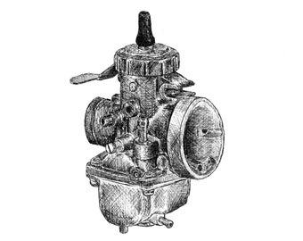 Mikuni VM 34 Carburetor Pen and Ink Print Motorcycle Art