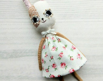 Brown bunny girl in dress artdoll textile arttoy embroidery miniature doll cotton