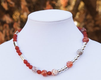 October: carnelian and sterling silver asmmetrical necklace
