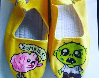 Zombie and brain hand painted shoes (mary janes)