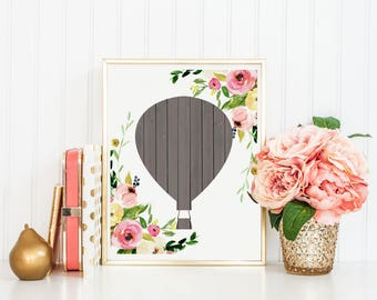 Hot Air Balloon Print-Floral Hot Air Balloon-Girl Nursery Print-Wooden Hot Air Balloon-Printable Art-Kids Room-Instant Download-Wall Art