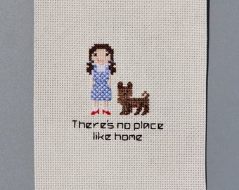 Wizard of Oz Cross Stitch Fan Art - There's No Place Like Home (Dorothy & Toto)