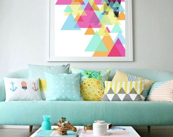 Brother Bear Art Print, Art Poster, Home Decor, Wall Art, Geometric, Colourful, Triangles, Abstract, Digital Collage, Poster, Decorationn