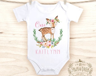 Personalized First Birthday Outfit Girl - 1st Birthday Onesie® - Boho Baby Clothes - Deer Onesie®