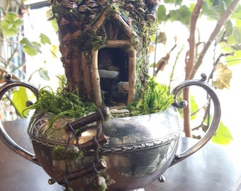 Fairy House in Vintage Silverware with Accessories, Fairy House, Fairy Garden House, Fairy Door, Faerie House, Mouse House, Pixie Home, Fae