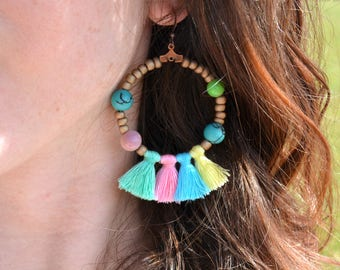 Spring rainbow tassels earrings; sunny jewel with pastel colorful tassels; Yellow, pink, turquoise and mint beads and tassels summery jewel