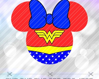 Wonder Woman Minnie Mouse SVG DXF Layered Vector Cut Files Cricut Designs Silhouette Cameo Party Decorations Vinyl Tshirt Decal Scrapbooring