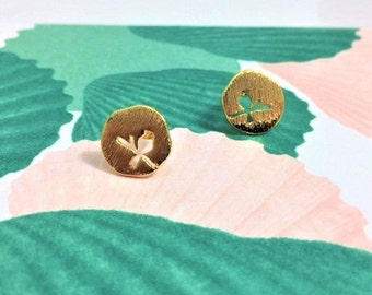 Bird on a branch gold earrings