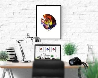 Discus Fish Painting, Aquarium Decor, Tropical Fish Art, Modern Nautical Print, Marine Poster, Minimalist Fish, Sealife Lover Gift, Pisces