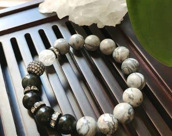 10mm Map Jasper / Obsidian /Snow Crystal Quartz Yoga Mala Beaded Bracelet. Healing Natural Gemstone Wrist Mala Bracelet. Protection Mala.