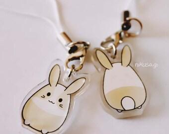 nikusagi bunny classic character clear acrylic charm on cell phone strap
