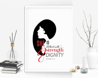Inspirational wall art, Typography, Graphic Art, Poster, Printable, Girl power, Quote, Bible verse