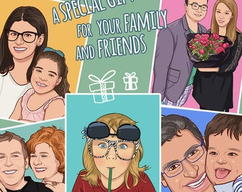 Custom cartoon portrait - A special gift for your family and friends