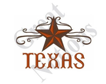 Texas Star Scroll - Machine Embroidery Design