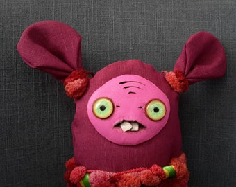 Unique gift handmade fabric rag doll - Claret