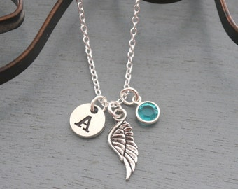 Angel Wing Necklace, Personalized Angel Wing Necklace, Angel Wing Initial Necklace, Remembrance Necklace, Momorial Necklace, Sympathy Gifts
