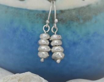 Silver Pebble Stack Earrings