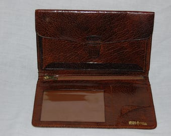 Vintage Genuine Calf leather Brown ID  Bi-fold Wallet Made In England