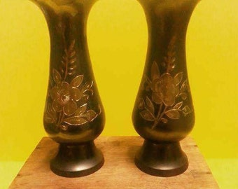 Pair Etched Black Brass Vases