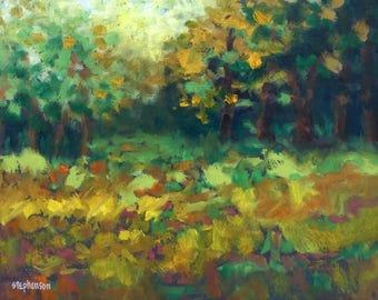 "Original Oil Painting Framed Abstract Landscape ""Patchwork Quilt"""