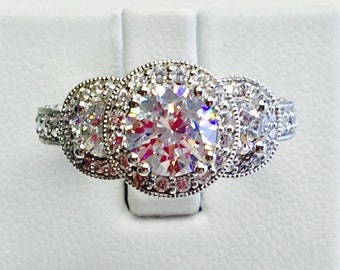 2.05 tcw Triple Round Halo Diamond Engagement Ring with Milgrain Detail in 18kt White Gold from the Romance Collection