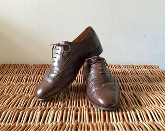 Hand Made in England - Vintage Brown Leather Oxford Brogue Shoes UK Size 12