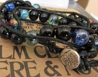 Blue and Black Double Wrap Bracelet