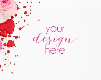 Valentine's Day Styled Stock Photography / Product Mockup / Styled Photo / Blog / Website / Sassaby Studios / Valentine Love Hearts #9301