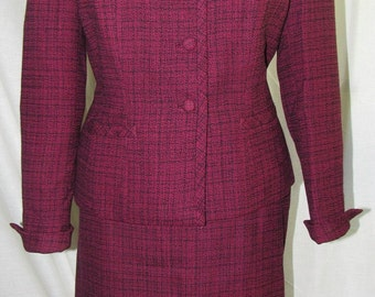 "True Vintage 1940's ""MANN-EQUIN Exclusive"" Wine/Blue Tweed Suit"
