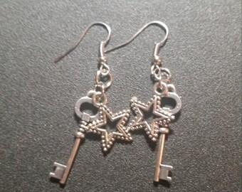 Silver Star and Key Dangle Earrings