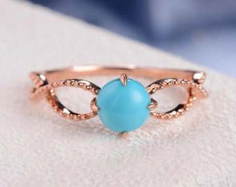 Infinity Rose Gold Engagement Ring Solitaire Turquoise Ring Milgrain Beaded Delicate Cross Half Eternity Band Minimalist Anniversary Promise