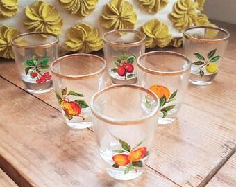 Vintage Shot Glasses, Set of Six, Fruit