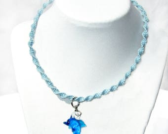 Dolphin Charm - Dolphin Necklace - Charm Necklace - Pendant - Dolphin - Hemp Necklace Glass Pendant - Hemp Jewelry - Hemp Necklace