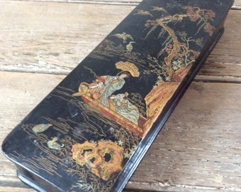 Antique Japanese Lacquered Box Meiji Era (1860s-1910s) / Black, Gold and Red Lacquer Finish.