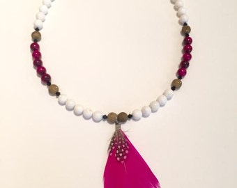 Taking Flight Beaded Feather Necklace
